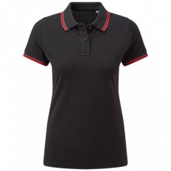 Asquith & Fox AQ021 Women's classic fit tipped polo Black/Red 2XL