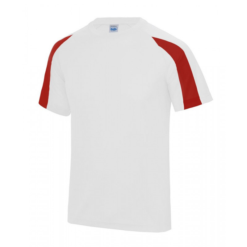 AWDis Just Cool JC003 Contrast cool T Arctic White/Fire Red 2XL