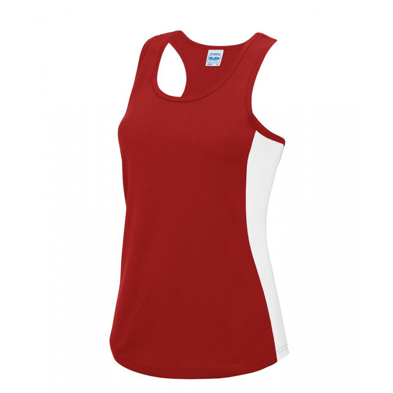 AWDis Just Cool JC016 Women's cool contrast vest Fire Red/Arctic White L