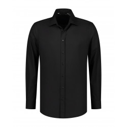L&S Shirt Poplin mix LS for him LEM3925 Black S